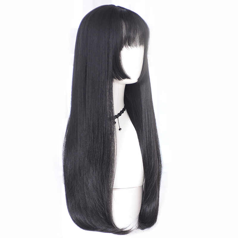 Princess cut wig long straight hair Ji hairstyle double ponytail cross-dressing girls COS fake hair three knives Synthetic Wigs