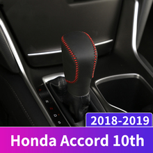 Leather Car Gear Shift Knob Head Covers Collars Case For Honda Accord 10th 2018 2019 AT Hand-stitched