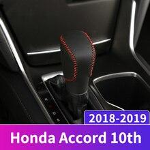 все цены на Leather Car Gear Shift Knob Head Covers Gear Shift Collars Case For Honda Accord 10th 2018 2019 AT Hand-stitched Shift Knob Case онлайн
