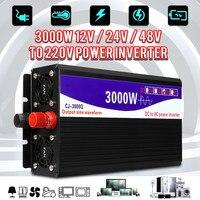 Black Inverter 3000W Pure Sine Wave Inverter LED Digital Display 12V/24V to 220V 50HZ Transformer Power Inverter Supply