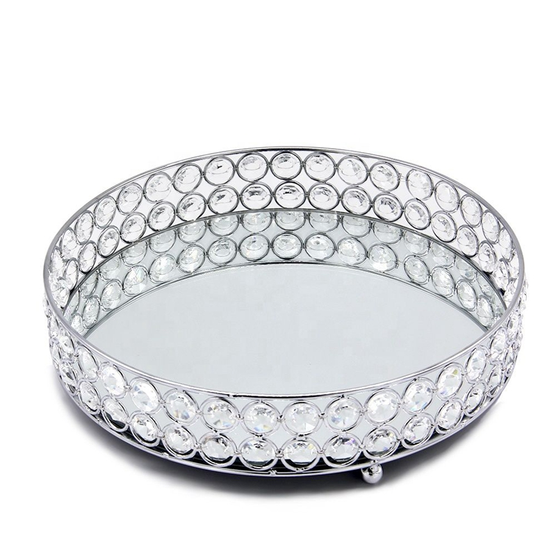 Silver Round Mirror Decorative Cosmetics Storage Box Tray, Wedding Home Decoration Rack