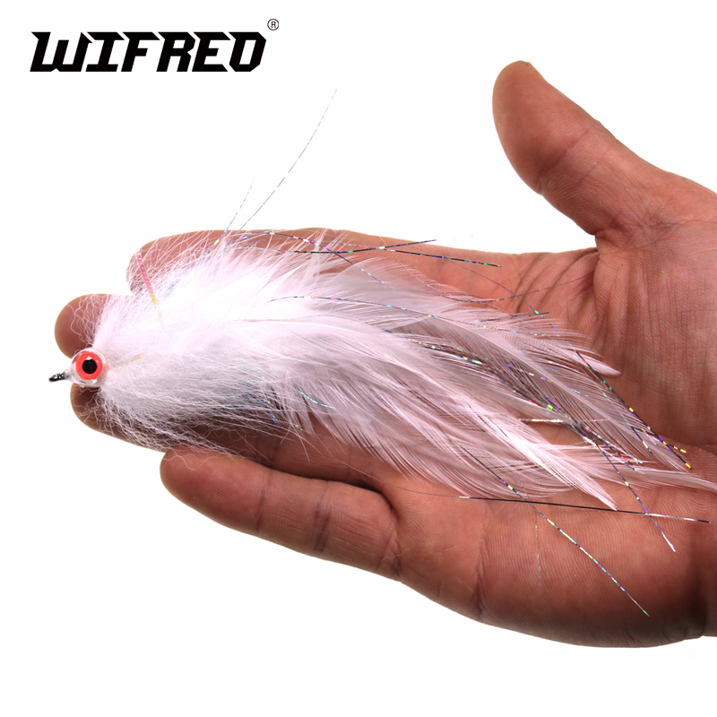 Wifreo #2/0 White Bait Fish Fly Suspending Streamer Flies Lure For Musky Bass Baitfish Imitator Trout Fishing Flies