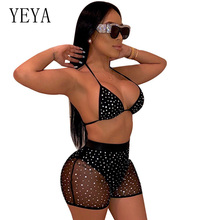 YEYA Two Piece Set Sequin Sheer Mesh Jumpsuit Women Sexy Deep V Neck Spaghetti Strap Shorts Romper Night Club Party Playsuit