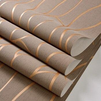 Papel tapiz a rayas 3D, Adhesivo de papel de Contacto de Color sólido no tejido europeo, decoración para sala de estar y dormitorio, papel tapiz de geometría Simple