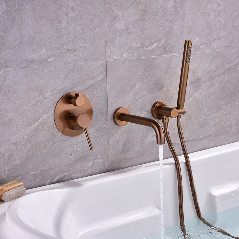 MTTUZK Brass Brushed Rose Gold Bathtub Faucet Shower Set Black Wall Mounted Cold And Hot Water Mixer Faucet With Handheld Shower