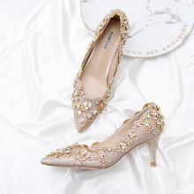 Autumn winter party shoes champagne golden bride shoes colorful rhinestone adult fairy shoes pointed stiletto heels