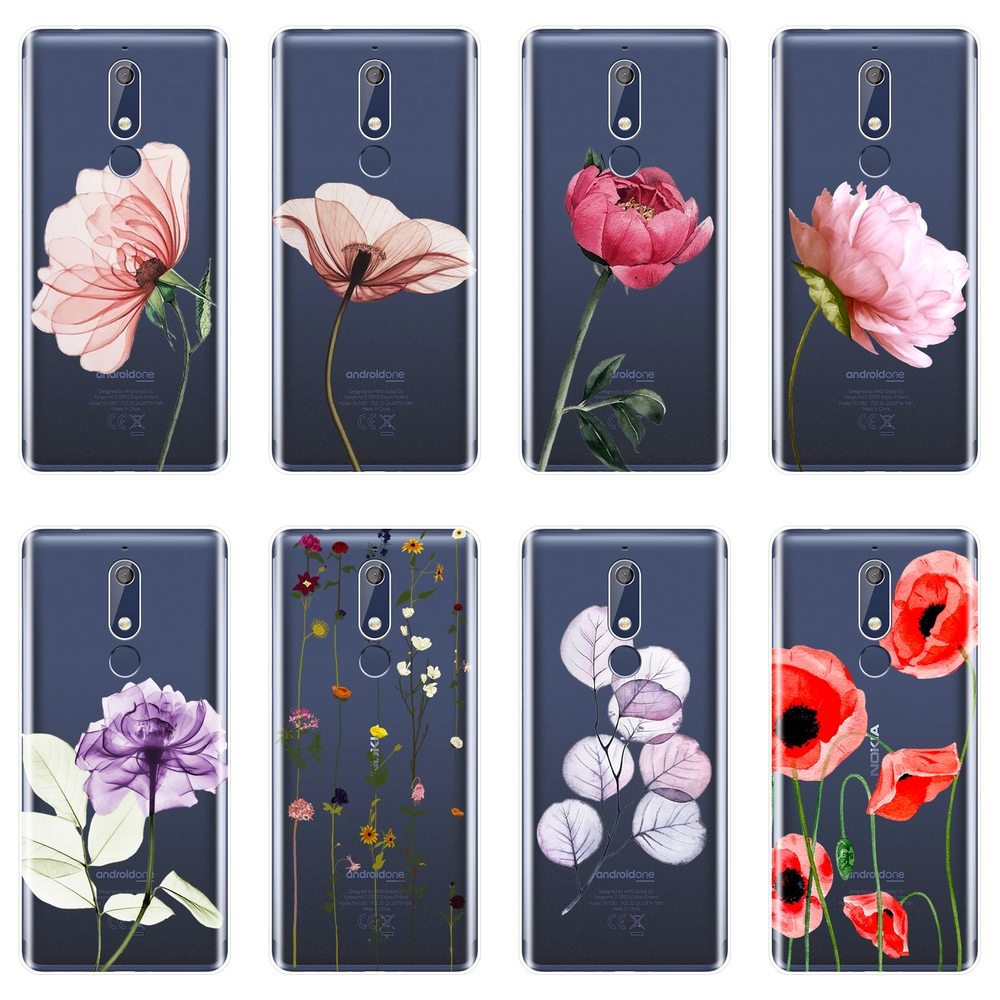 TPU Back Cover For <font><b>Nokia</b></font> 7.1 6.1 <font><b>5.1</b></font> 3.1 2.1 Plus Rose Flower Pink Red Floral Aesthetic <font><b>Phone</b></font> <font><b>Case</b></font> Silicone For <font><b>Nokia</b></font> 3.2 4.2 image