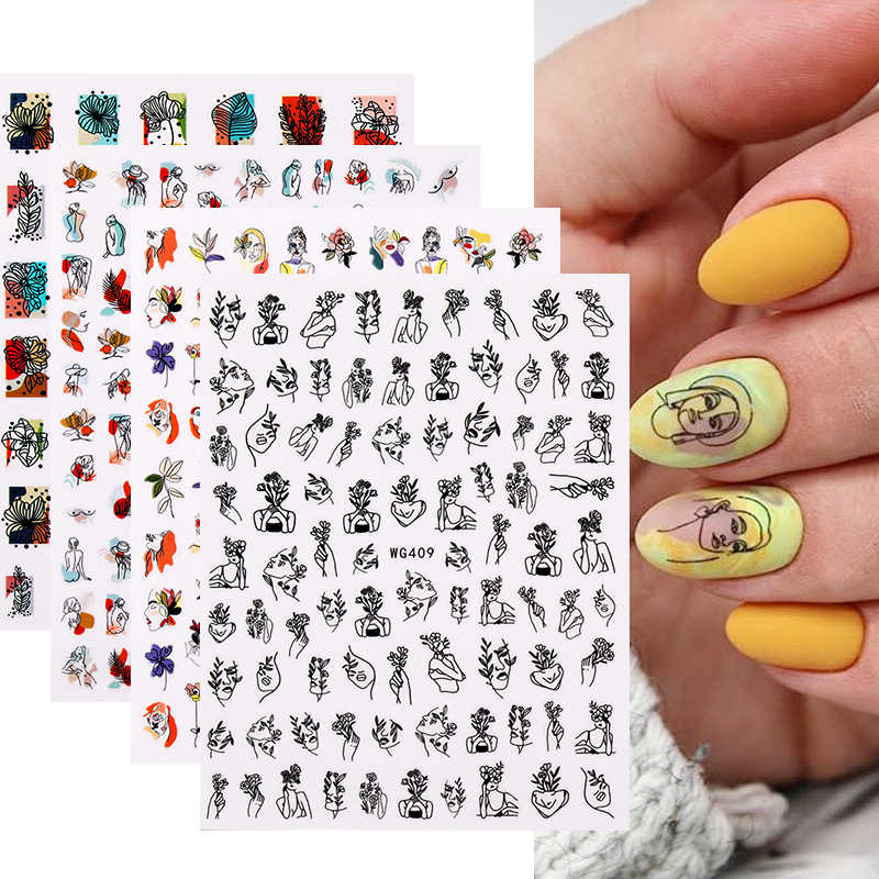 3D Nail Art Stickers Sexy Girl Face Image Self Adhesive Transfer Stickers Abstract Lines Leaves Nail Decals DIY Manicures Foils