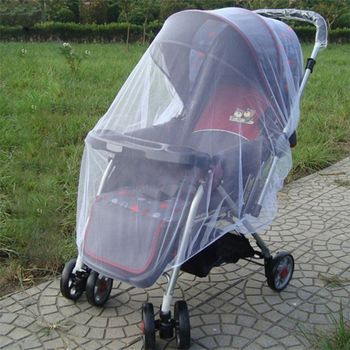 Newborn Toddler Infant Baby Stroller Crip Netting Pushchair Mosquito Insect Net Safe Mesh Buggy White image