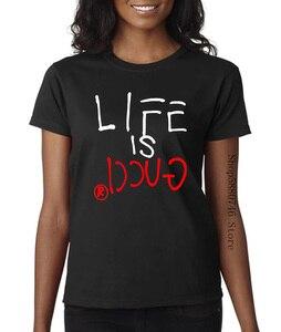 2020 nueva marca camiseta de verano para hombre de algodón de manga corta Camiseta Life Is Guccy camiseta marca ropa...