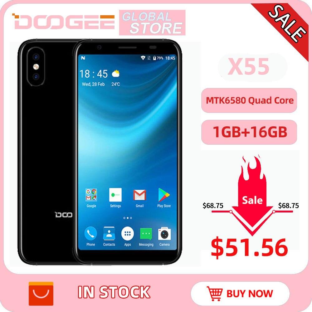 Фото. 2018 DOOGEE X55 Android 7,0 5,5 дюйма HD 18:9 MTK6580 4 ядра 16 GB Встроенная память двойной Камера