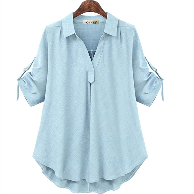 womens tops and blouses white blouse office shirt blusas mujer de moda 2020 long sleeve women shirts clothes chemise femme 4XL 3