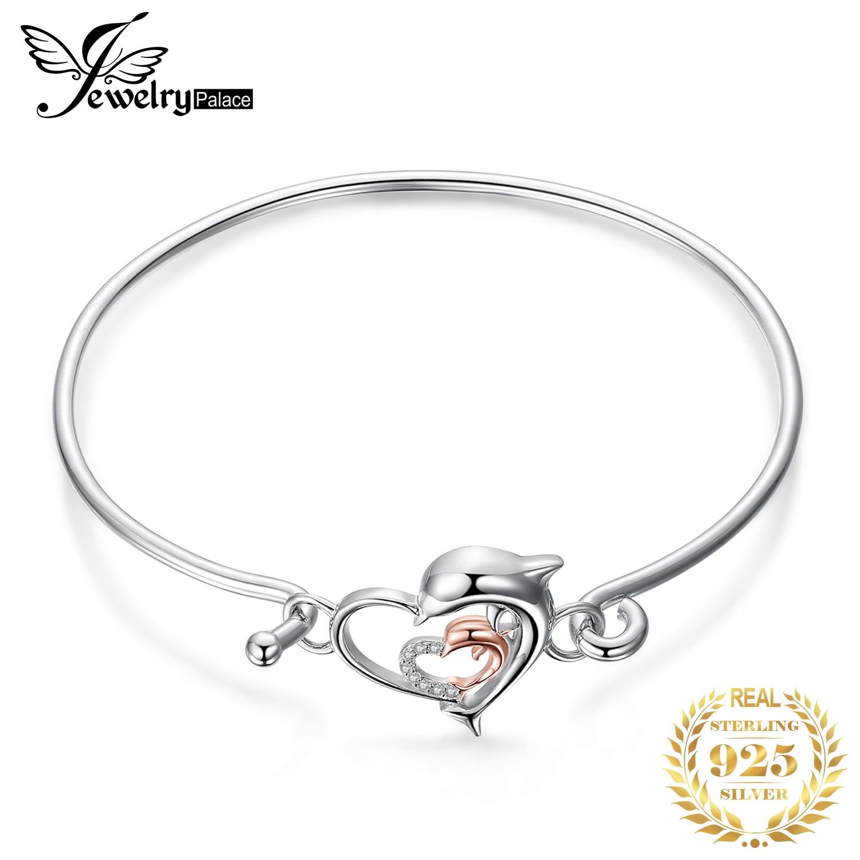 JewelryPalace Dolphin Heart Bracelet 925 Sterling Silver Bracelet Bangle Bolo Bracelets For Women Silver 925 Jewelry Making Orga(China)