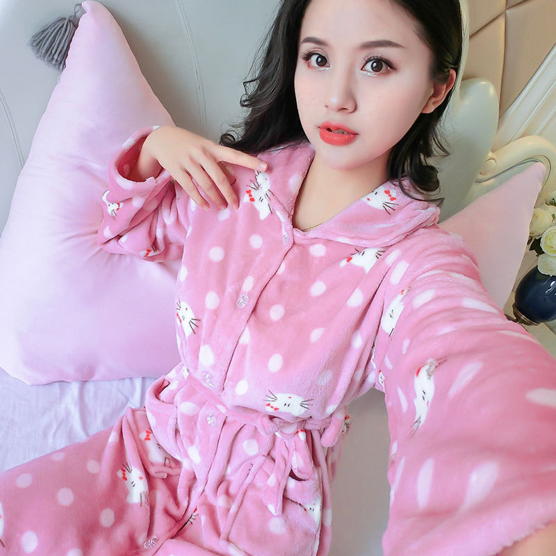 1304 # Bean Paste Dotted KT Cat Flannel One-Piece Women's Robes Long Sleeve Women's Tracksuit Pajamas Mid-length Nightgown