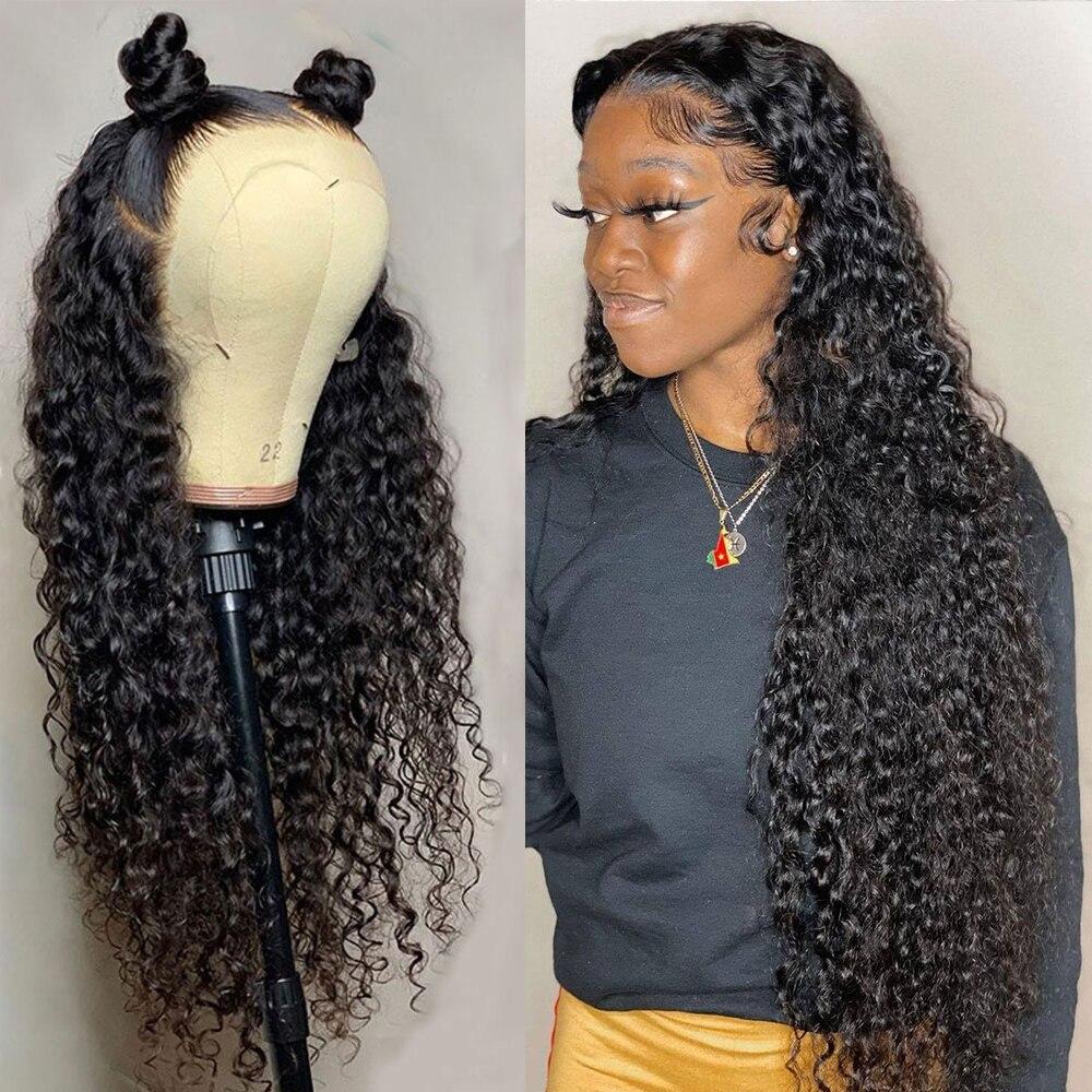 Кудрявые человеческие волосы глубокая волна фронтальный парик для черных женщин предварительно выщипанные бразильские Hd 30 дюймов влажные ...