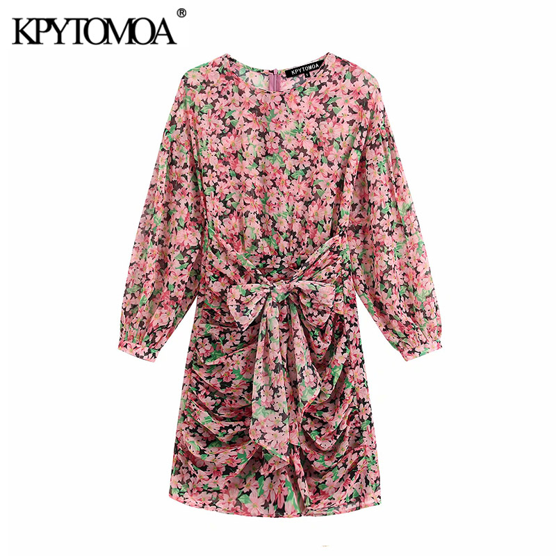 KPYTOMOA Women 2020 Chic Fashion Floral Print Draped Mini Dress Vintage Puff Sleeve O Neck Back Zipper Female Dresses Vestidos