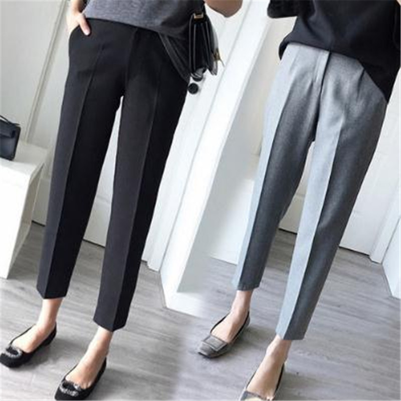 S-5XL Plus Size Women Pants Leisure High Waist Long Pants New Office Ladies Loose Straight Trousers Black Grey Spring Suit Pant
