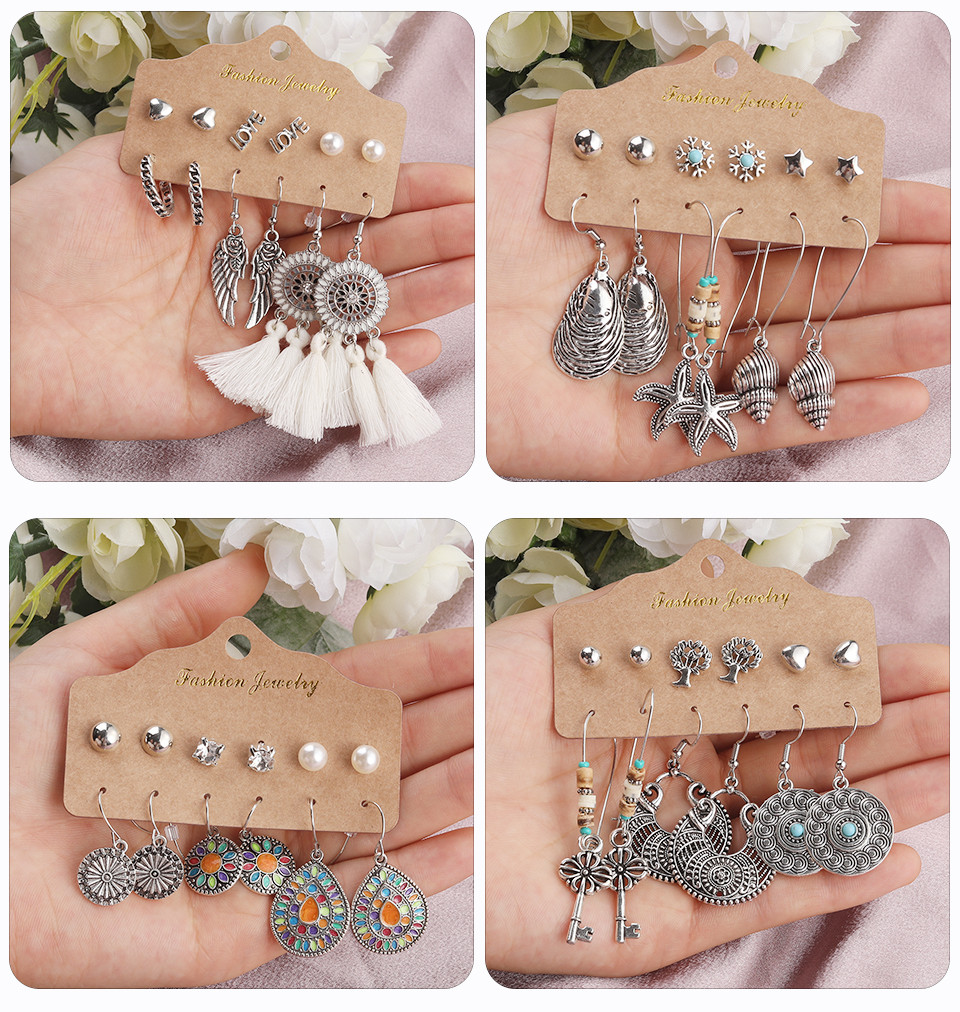 Bohemia Silver Earrings Set Vintage Ethnic Long Round Leaf Tassel Wedding Water Drop Earrings for Women Girls Statement Jewelry (169)