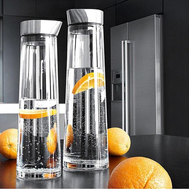 1/1.5L Large Capacity Heat Proof Transparent Thicken Glass Pitcher with Lid Water Bottle Jar Kettle Juice Bottle Kitchen Teapot