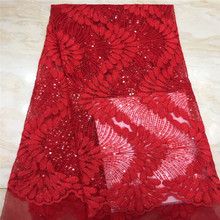 цена New style French Sequins net lace fabric,African  lace fabric High quality for Nigerian Best party dress xc1-1142 онлайн в 2017 году