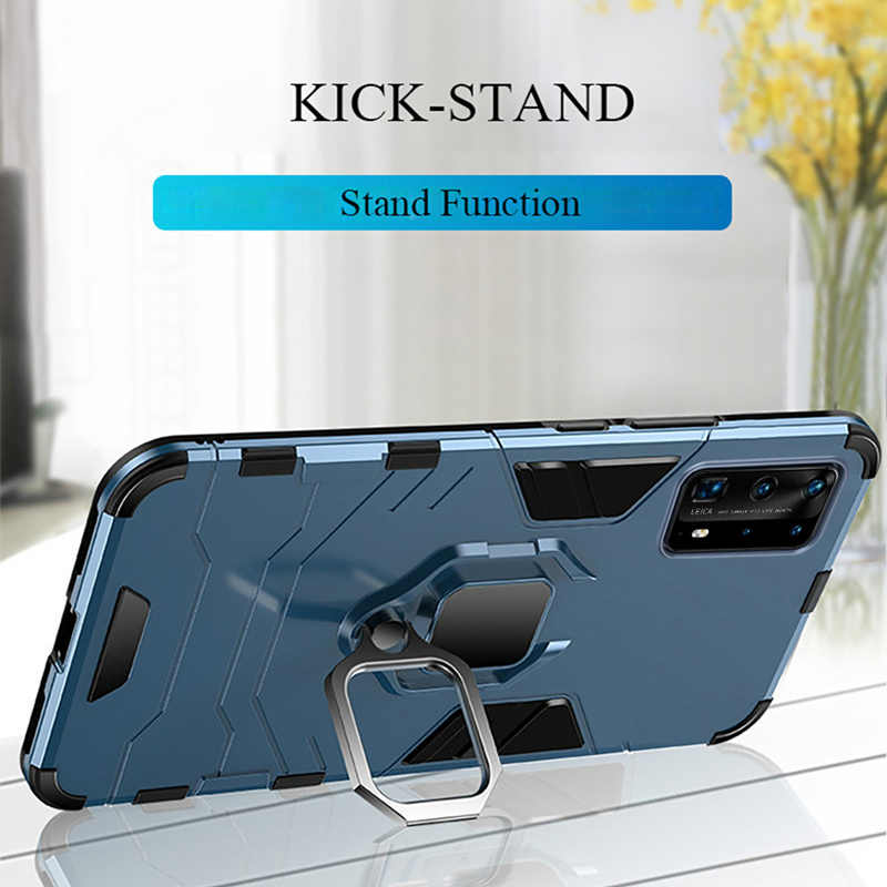 KEYSION Shockproof Armor Case untuk Huawei P40 P40 P30 P20 Lite Ring Stand Phone Cover untuk Huawei Nova 5T P Smart Z Y9 Prime 2019