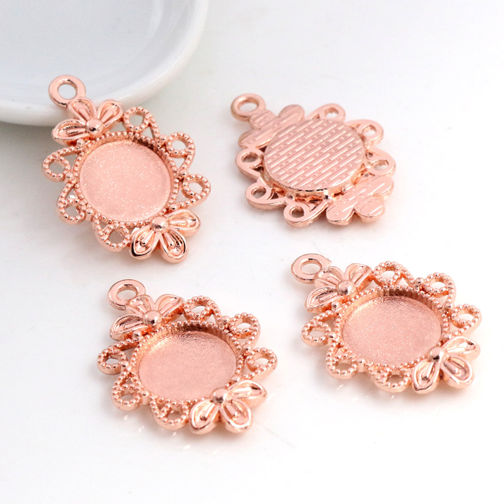 16pcs 12mm Inner Size Rose Gold Color Fashion Flower Style Cabochon Base Cameo Setting Charms Pendant (A1-40)