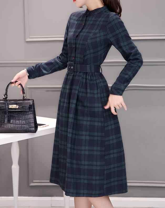 Винтажное винтажное офисное ТРАПЕЦИЕВИДНОЕ женское платье в клетку с поясом, стоящее Дамское Платье длиной до колена, 2019 зимнее женское платье, Vestidos NA174