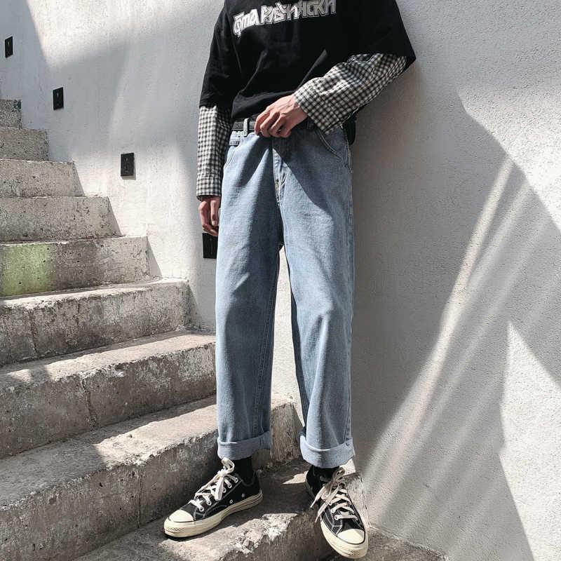 Осенние новые джинсы мужские модные однотонные повседневные джинсовые брюки мужские уличные свободные прямые джинсы в стиле хип-хоп