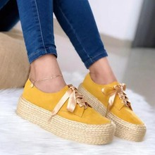 Women Canvas Loafers Girls Lace Up Round Toe Casual Flats Fashion Ladies Espadrille Shoes Thick Bottom Flats Shoes Footwear(China)