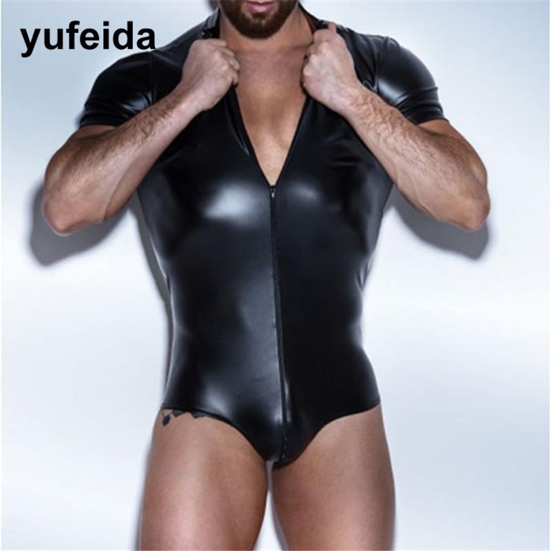 Sexy Mens Undershirts Faux Leather Leotard Bodysuit Jumpsuit One-piece Wrestling Singlet Party Dance Clubwear Briefs Underwear