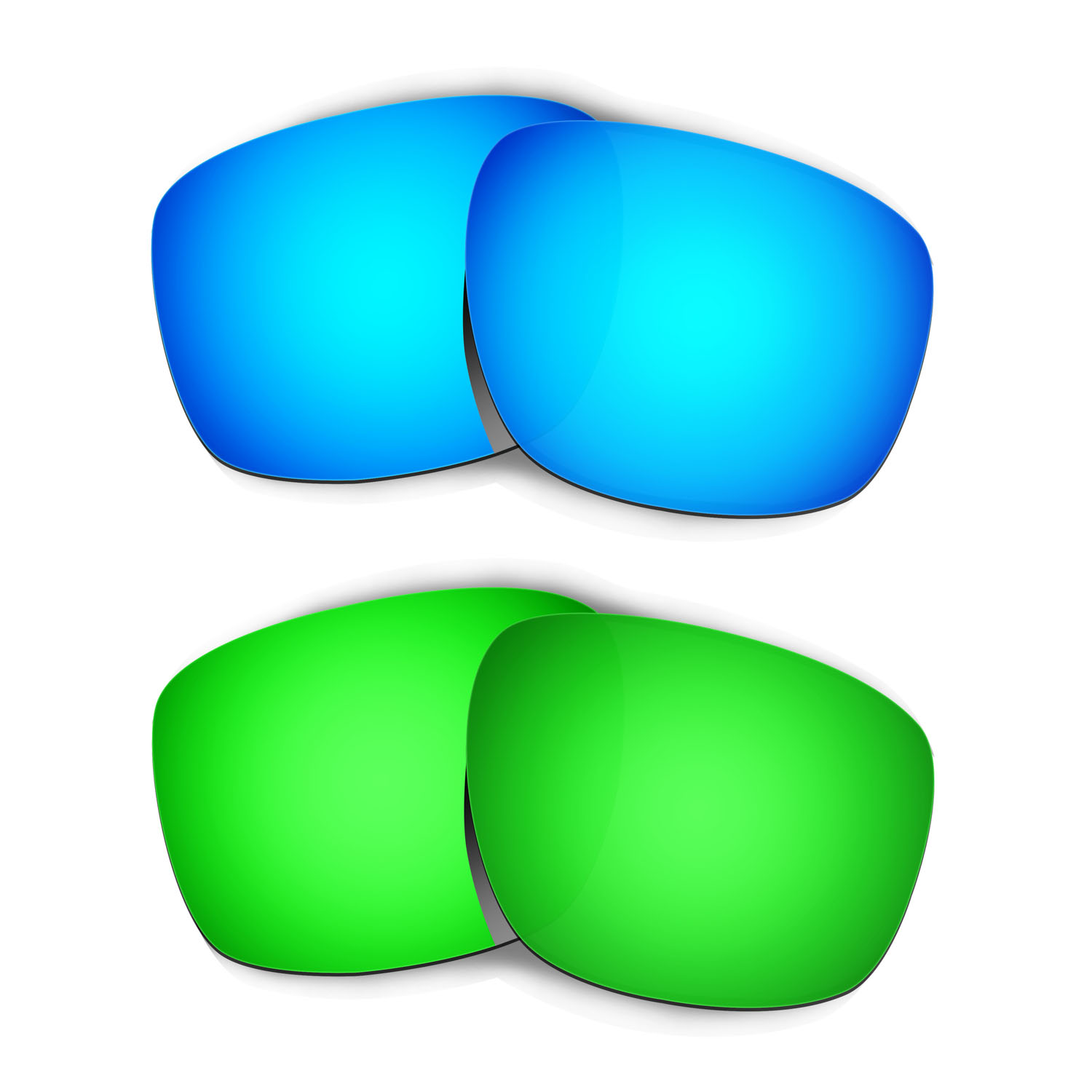 HKUCO For Sliver Sunglasses Replacement Polarized Lenses 2 Pairs - Blue & Green
