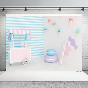 Image 2 - Sweet Table Ice Cream Cone Stripes Photo Backdrop Vinyl Cloth Background Photography Props for Children Baby Shower Photoshoot