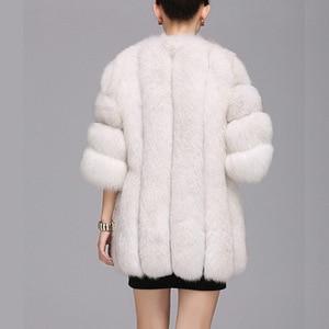 Image 4 - Abrigo de piel a la moda, cálido abrigo de piel de 100% para Chaqueta de piel Natural, chaquetas mullidas de manga larga elegantes para mujer, chaquetas de piel artificial de talla grande, abrigo S 3XL, 2020