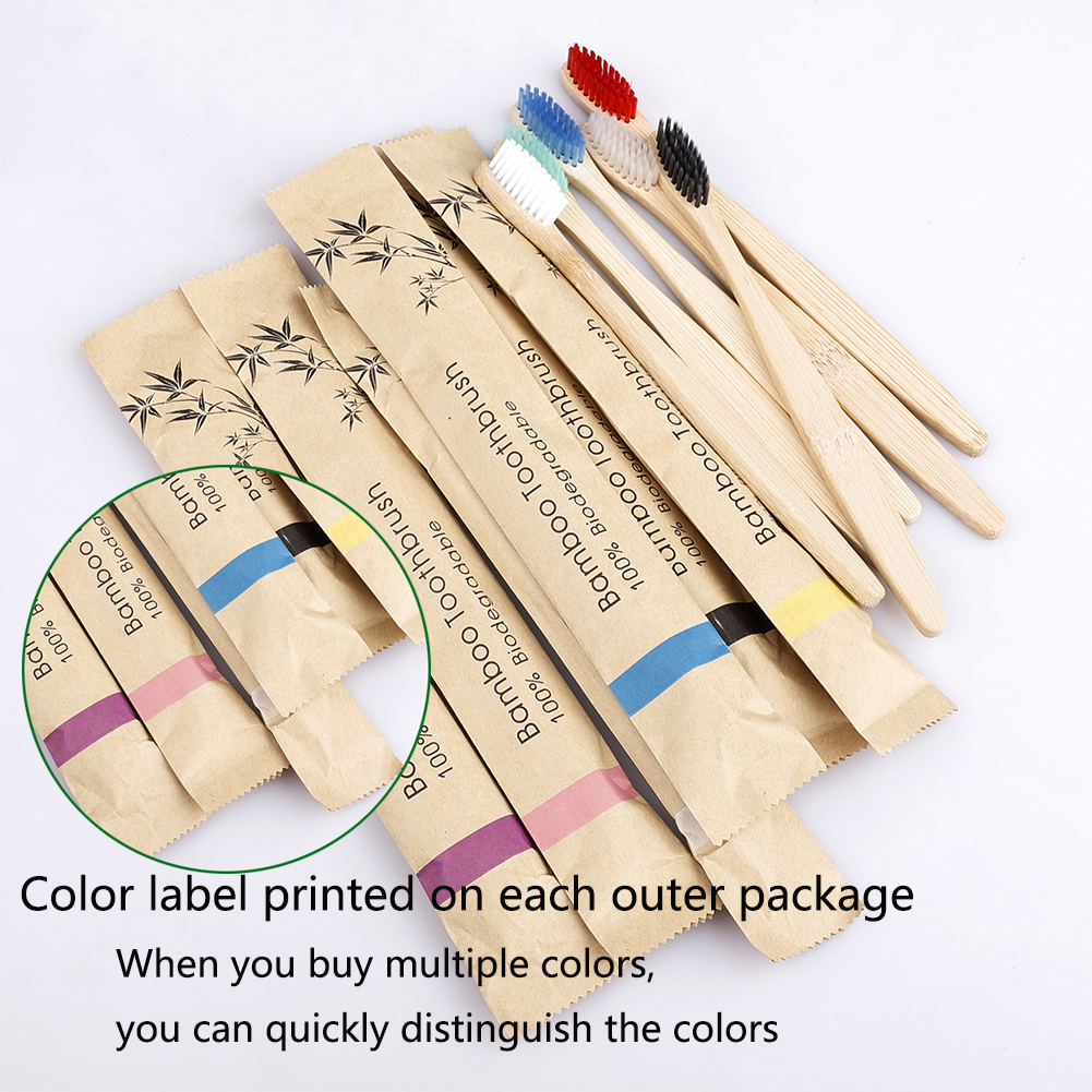 Bamboo Toothbrush Soft Bristles Biodegradable Vegan eco-friendly Bamboo charcoal Toothbrushes Oral Care Tooth logo customize image
