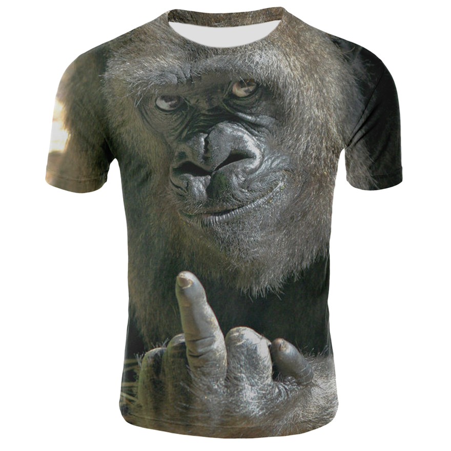 Men Animal T Shirt Milk Silk Orangutan 3D Print Tshirt Men Funny Short Sleeve O-neck Tees Tops Monkey 3D Print Summer Clothes