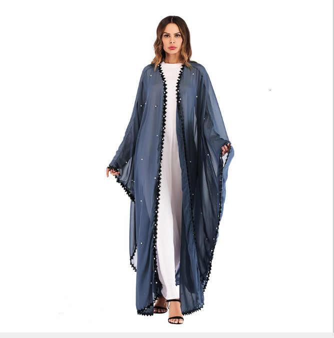 イスラム教徒のレースメッシュ真珠アバヤマキシドレスカーディガンロングローブガウン jubah 着物ラマダンアラブイスラム服礼拝