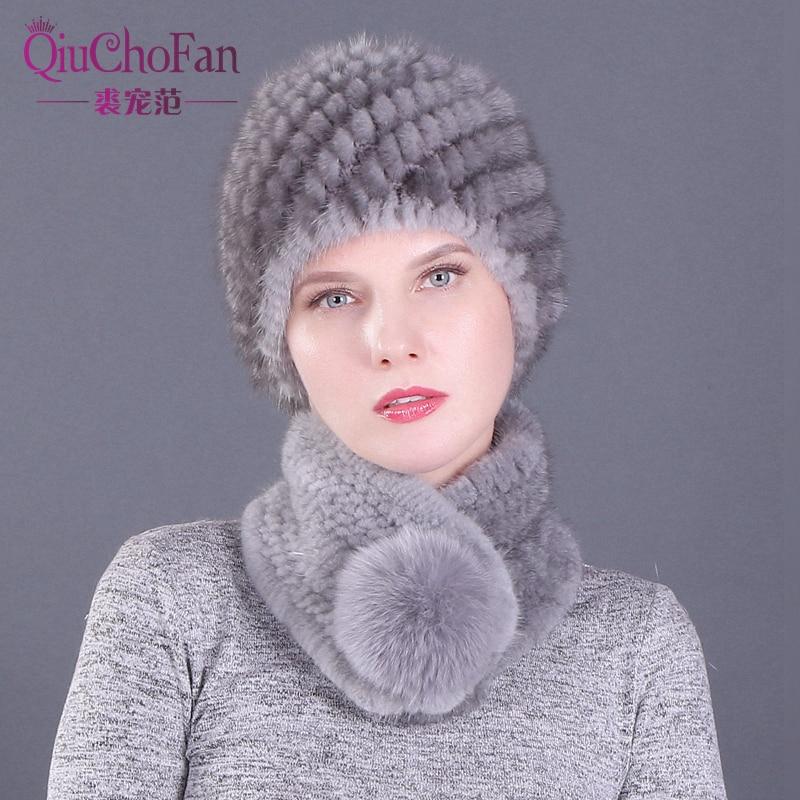 Winter Genuine Mink Fur Pineapple Cap Hats & Fox Fur Ball Scarves Set Knitted Women Warm Natural Mink Fur Caps Scarf Set