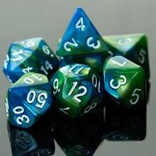 7 Teile/satz Blau/Grün DND Würfel Set Doppel-Farben Polyhedral Würfel D4 D6 D8 D10 D % D12 d20 Polyhedral Würfel für Bord Spiel RPG Würfel