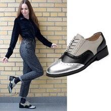 女性オックスフォード靴フラット本革カジュアルローファー女性の女性の靴のための手作りの干潟 2020 女性オックスフォードシューズ