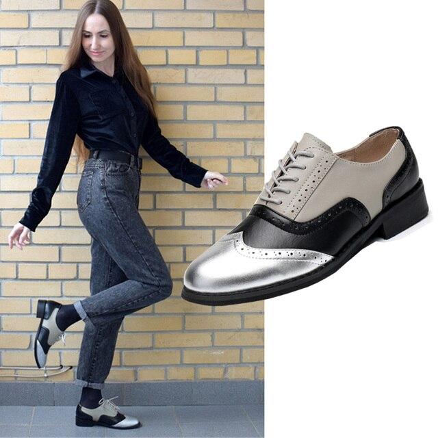 Femmes appartements En Cuir Oxford Chaussures Pour Femmes Grand Femme Taille 11 Designer Vintage plat Chaussures Bout Rond À La Main Blanc Creepers