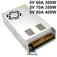 5V 60A 70A 80A Switching Power Supply Driver AC 100 240V to DC 5V transformer adapter 300W 350W 400W for led strip display