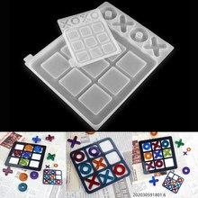Tic-Tac-Toe Ox gra w szachy żywica epoksydowa formy lustro silikonowe formy do DIY żywica UV epoksydowa biżuteria Handmade Making Tools