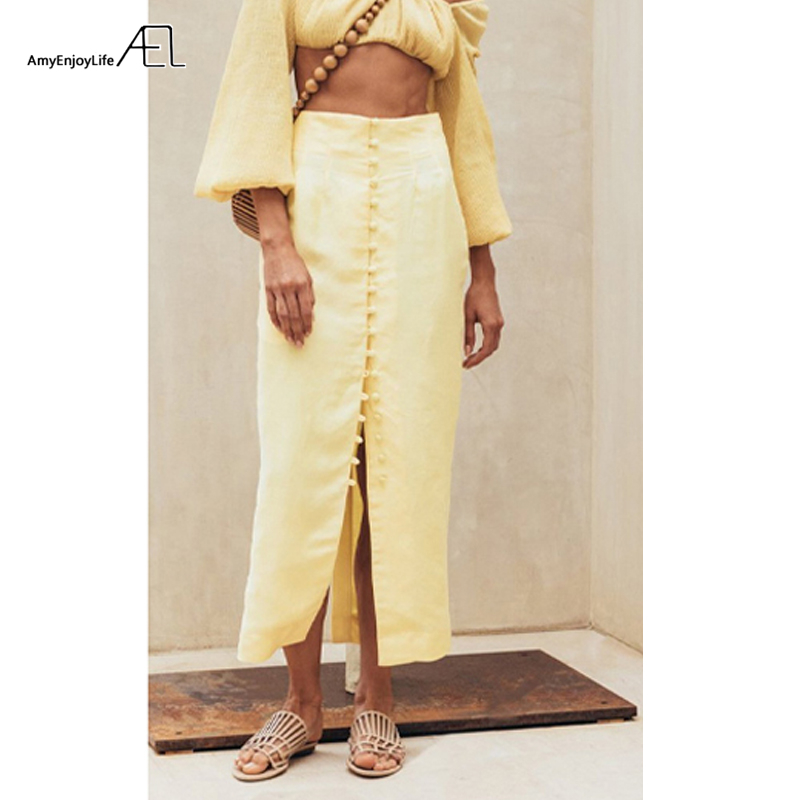 AEL 2019 Summer Women High Waist Button Bodycon Maxi Skirt Yellow Long Skirts Kick Pleat Clothing Jupe Femme