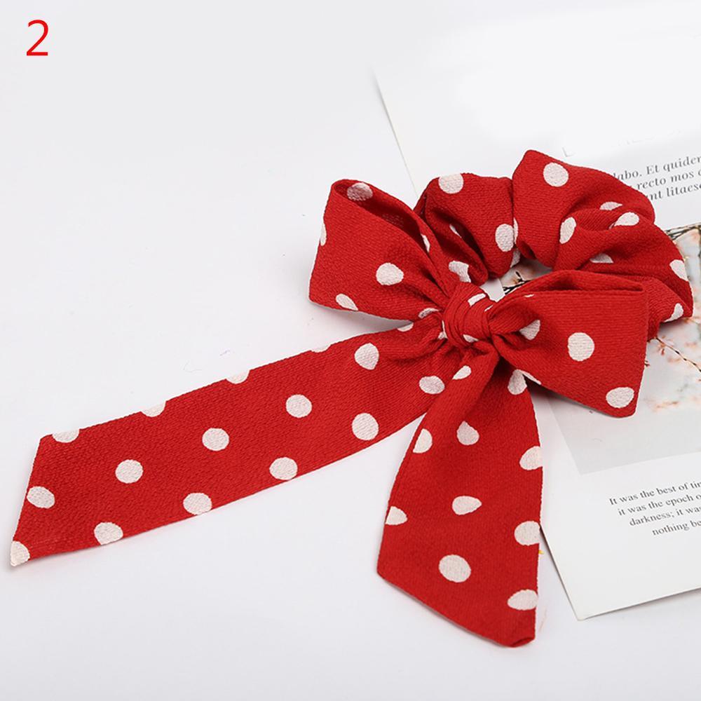 Femmes banderoles chouchous à pois imprimé Floral élastique noeud cheveux corde fille cheveux cravates coréen doux cheveux accessoires chapeaux 67