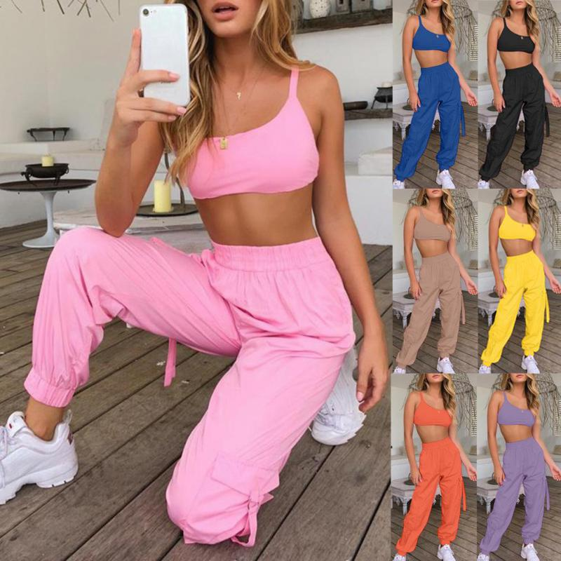 Short Vest And Tooling Trousers Two-piece Sexy Two Piece 2020 Off Shoulder Vest Trousers Two-piece Street Hipster Sexy Outfit