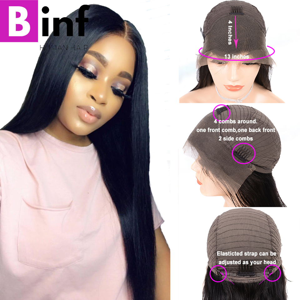 BINF Peruvian Straight Human Hair Wigs Lace Front Human Hair Wigs Pre Plucked With Baby Hair Non Remy Hair For Women Color 1B-in Human Hair Lace Wigs from Hair Extensions & Wigs    1
