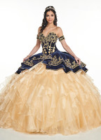 Navy Blue Velvet Ball Gown Quinceanera Dresses With Embroidery Tiered Skirts Lace Up Floor Length Vestido De Festa Sweet 16 D