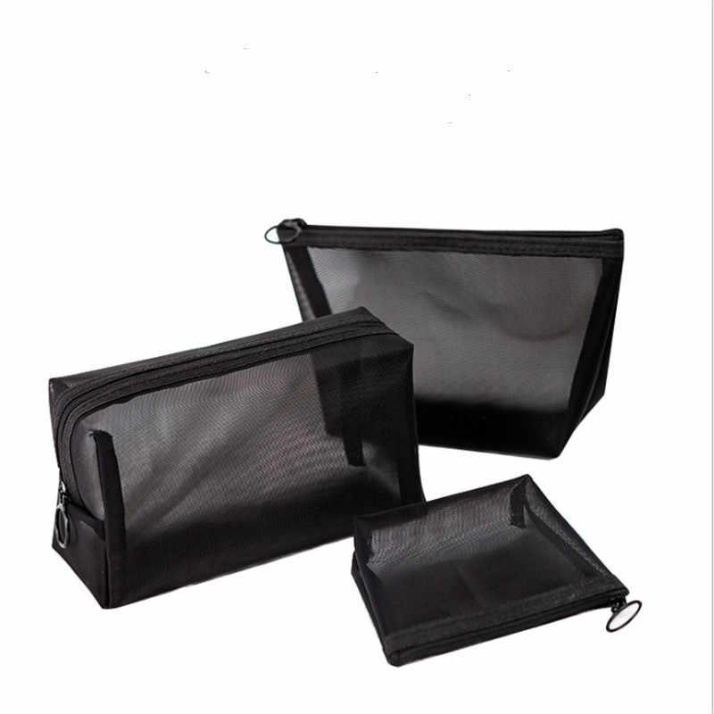 Saco cosmético de viagem feminina casual zíper compõem transparente malha maquiagem caso organizador de armazenamento bolsa de higiene pessoal beleza lavagem sacos