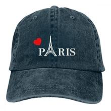 Любовь Париж Casquette темно-синий унисекс Мужские Женские джинсовые бейсболка с ремешком кепки Регулируемый Гольф папа шляпа