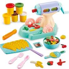 Novo playdough crianças 3d quebra cabeça cor lama conjunto multi função máquina de waffle diversão macarrão artesanal bolinhos diy brinquedo plasticina
